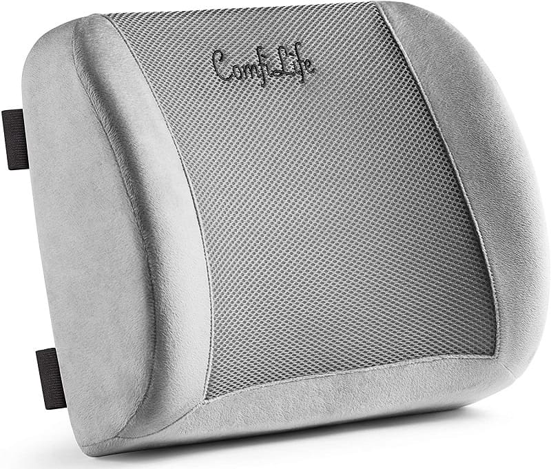 Adjustable Strap Luxurious Lumbar Support Pillow for Chair//Car Breathable and Washable Cover Back Cushion with Premium Grade Memory Foam