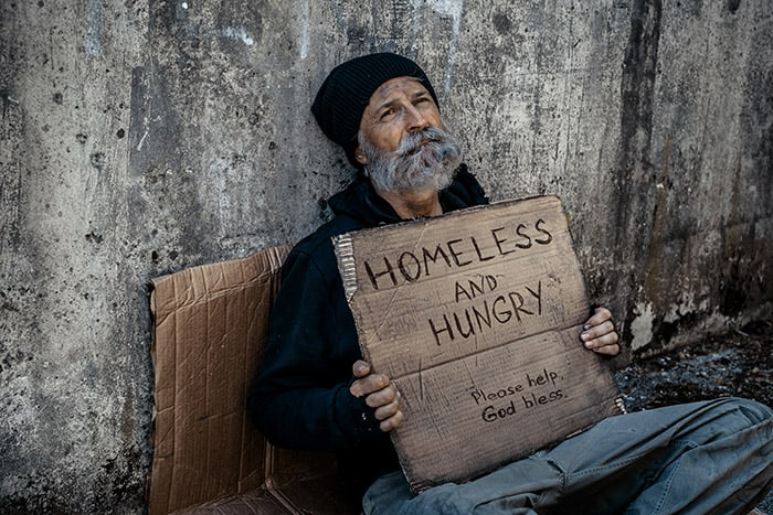 homeless people are hungry